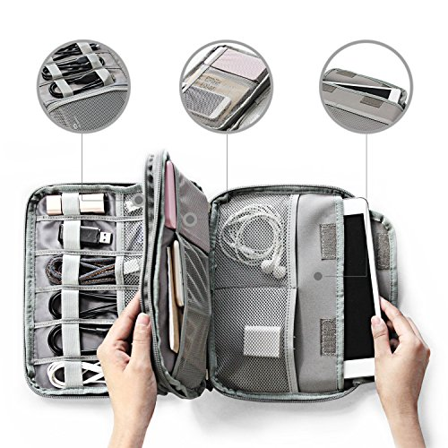 WIN DESIGN Travel Cable double-deck Organizer for iPad mini, power bank and E-Readers,Portable Universal Electronic Accessories Storage Case, Charging Cords, USB Charger bag by Win Design (Image #1)