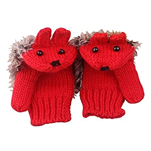 SportsWell Women's Cartoon Hedgehog Winter Cotton Gloves Girls' Thick Mittens
