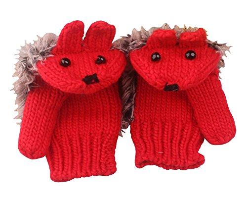 SportsWell Women's Cartoon Hedgehog Winter Cotton Gloves Girls' Thick Mittens