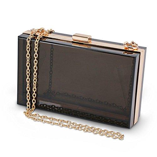 SharPlus Women Cute Transparent See Through Clear Box Clutch Acrylic Evening Handbags Cross-Body Purse Bag (Black) by SharPlus