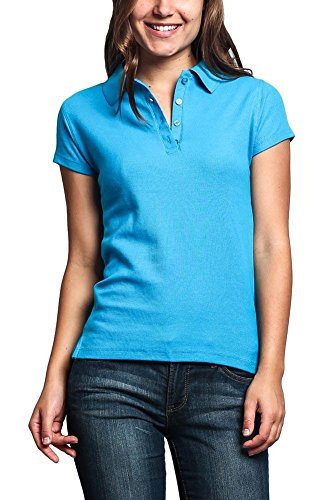 (G-Style USA Women's Preshrunk Solid Color Carded Pique Classic Polo Shirt PL600D - Turquoise - 2X-Large - C1H)
