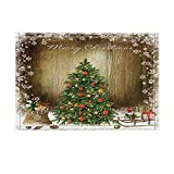 KOTOM Decor, Christmas Tree and Gifts Surrounded By Snowflakes Against Retro Wooden Board Bath Rugs, Non-Slip Doormat Floor Entryways Indoor Front Mat, Kids Bath Mat, 15.7x23.6in, Bathroom Accessories