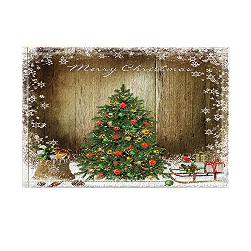 KOTOM Decor, Christmas Tree and Gifts Surrounded By Snowflakes Against Retro Wooden Board Bath Rugs, Non-Slip Doormat Floor Entryways Indoor Front Mat, Kids Bath Mat, 15.7x23.6in, Bathroom Accessories by KOTOM