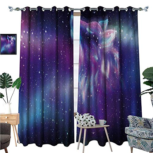 Fantasy Room Darkening Wide Curtains Psychedelic Northern Starry Sky with Spirit of A Wolf Aurora Borealis Display Customized Curtains W72 x L96 Blue -