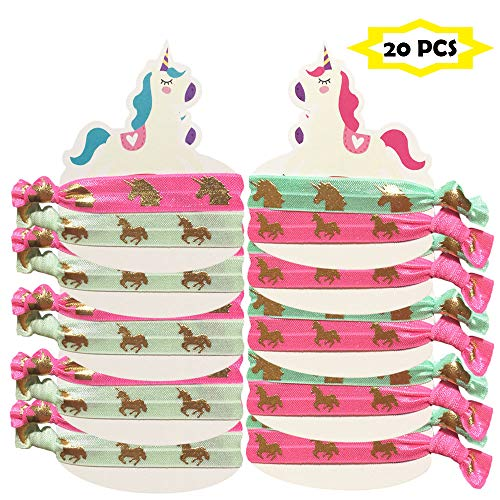 Unicorn Hair Ties/Bracelet gold unicorn Elastics Ponytail Holder Great Party Favors for Girls Birthday Party 10 Pack (20 pieces)]()