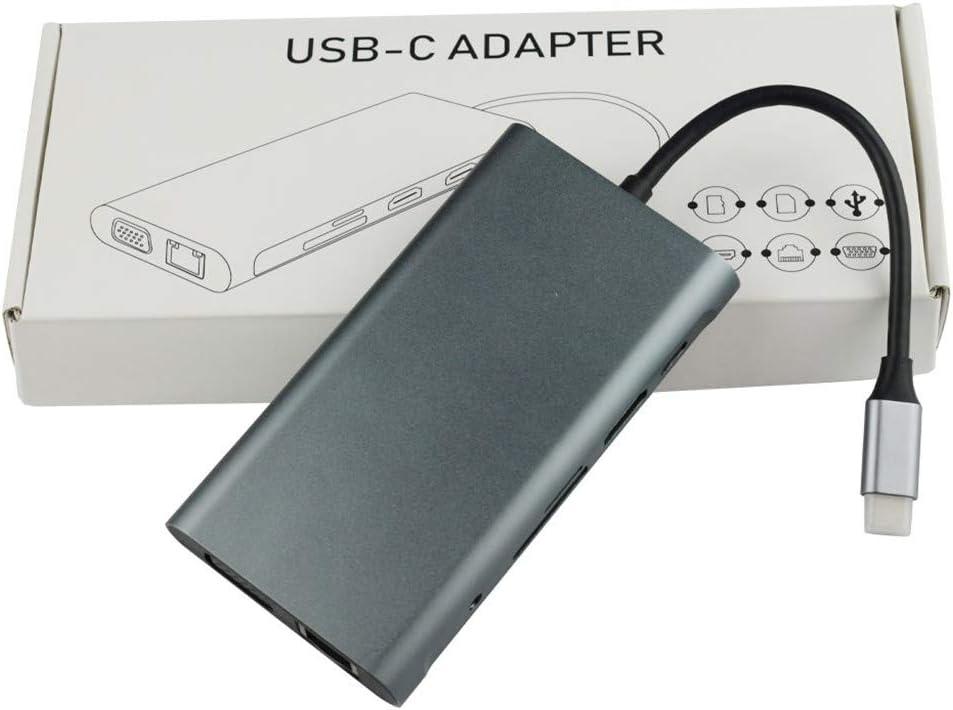VGA zu verdoppeln 2 HDMI PD SD TF Audio VGA USB3.0 f/ür MacNotebook Pro und andere USBC Ger/äte Bascar Typ C zu Dual HDMI Docking Station 11 in 1 Geben Sie c EIN um HDMI RJ45