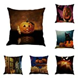Gotd Vintage Halloween Pillow Covers Decorative Throw Pillow Case Cushion Pumpkin Happy Halloween Decorations Decor Clearance Indoor Outdoor Festive Party Supplies (Multicolor A)