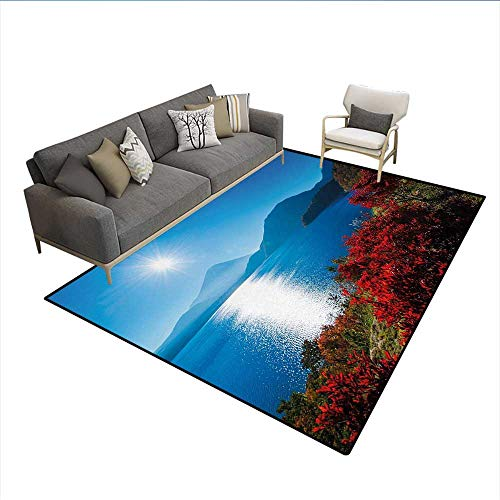 - Carpet,Japan Sunny Autumn Fall Plants Landscape with Trees Mountains and Ocean Panorama,Customize Rug Pad,Blue and Redsize:6'x8'