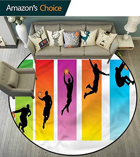 RUGSMAT Sports Super Soft Circle Rugs for Girls,Basketball Slam Dunk Move Foam Mat Bedroom Decor Round-63