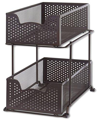 Simplehouseware Stackable 2 Tier Sliding Basket Organizer