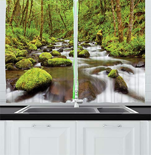 Ambesonne Scenery Decor Kitchen Curtains by, Photo of River with Rocks in the Water Rainforest Northwest Lush Photo, Window Drapes 2 Panels Set for Kitchen Cafe, 55W X 39L Inches, ()