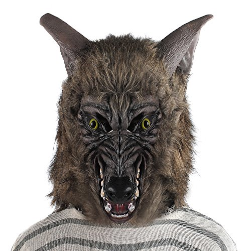 Scary Big Bad Wolf Costumes (Halloween Mask Werewolf Wolf Scary Horror Costume Party Fancy Dress Hairy Full Head Adult Men Women Teen)