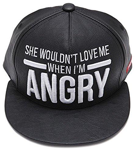sujii Angry PU Leather Hip Hop Boys Snapback Hat Baseball Cap Black/White