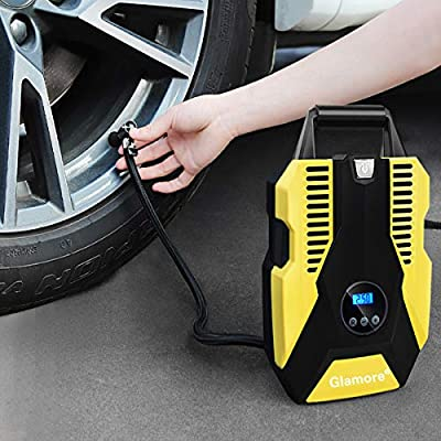 Glamore Portable Air Compressor for Car Tires, Digital Tire Inflator, 12V DC Air Compressor Tire Inflators, Air Tire Pump, 150 PSI with Emergency LED Flashlight for Cars, Motorcycles, Bikes, Ballons: Automotive