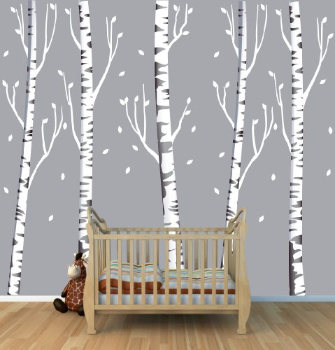 Giant Gray Birch Tree Decal with 5 Trees 96