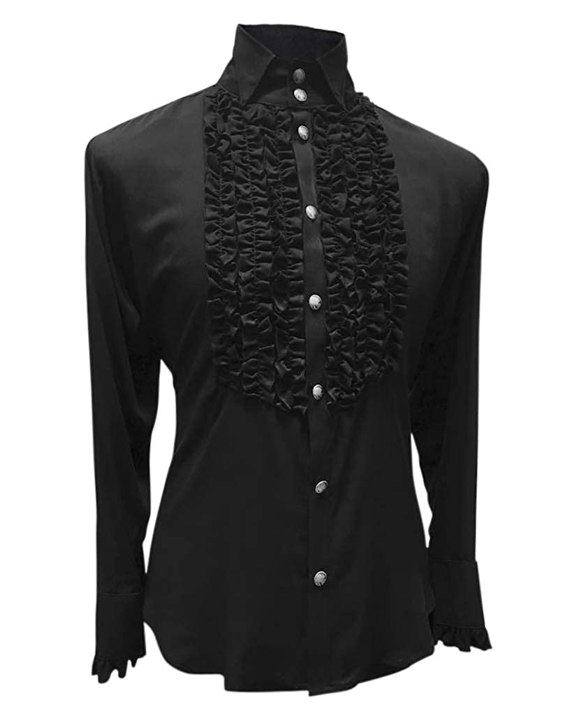 Steampunk Men's Shirts Shrine Mens Victorian Gothic Steampunk Formal Empire Tuxedo Shirt Black $125.00 AT vintagedancer.com