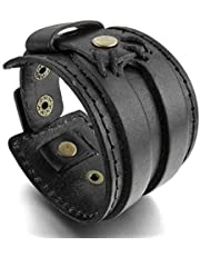 MENDINO Mens Womens Wide Handmade Genuine Leather Bracelet Bangle Cuff Jewellery (Black)