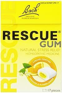 Rescue Gum Liquid Center Orange & Elderflower ( 17 Pieces )