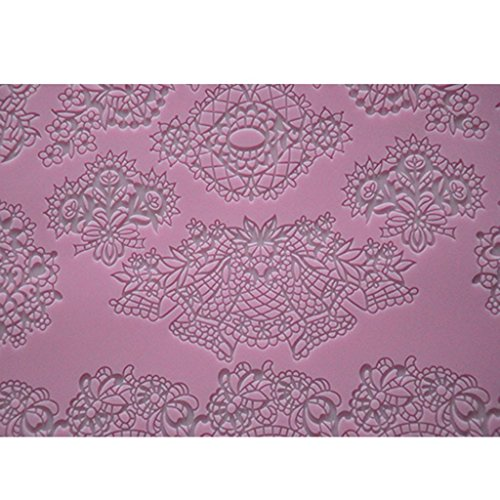 FOUR-C Cake Decorating Tools Lace Silicone Mat Cake Lace Mold Color Pink