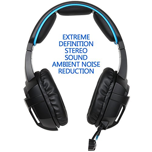 51UDNqWY4lL - Sades SA-807 Stereo Bass Surround, Soft Memory Earmuffs, Gaming Headset Compatible with PC Xbox One, Mac, PS4, PS4 Pro, Laptop and Mobile Gaming(Black and Blue)