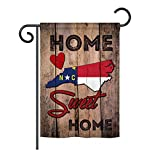 Ornament Collection GS191144-P3 State North Carolina Home Sweet Home Americana States Impressions Decorative Vertical 13″ x 18.5″ Garden Flag Set with Banner Pole Included Printed in USA For Sale