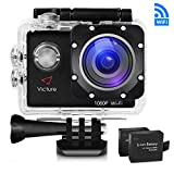 WIFI Action Camera 14MP 1080P Waterproof Sports Cam 30M Underwater Diving Camera with 2 Inch LCD Screen, 170° Wide Angle Lens and 2 Pcs Rechargeable Batteries