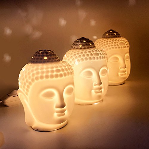 Porcelain Zen Buddha Head Statue Electronic Essential Oil Warmer / Scented Candle Tart Burner / Night Lamp for Aromatherapy, Spa, Sleep, Yoga, Home Decor