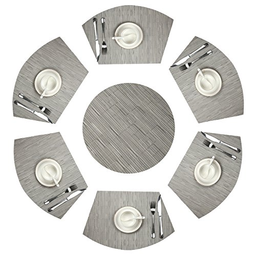 U'Artlines Wedge Place Mat With Center 14 Inch Round placemats Heat Insulation Stain-resistant Washable Vinyl Placemats Set of 7 (Set of 7, Silver Grey)
