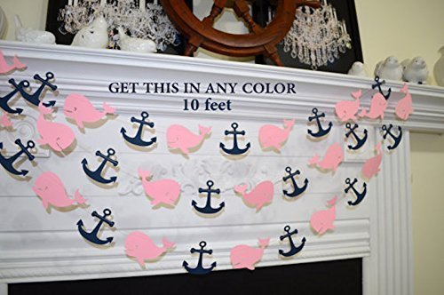 Pink And Navy Nautical Baby Whale Garland Beachfront Decor