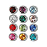 New 3 Dozen Studex Surgical Steel 3 mm Regular Size Ear Piercing Earrings Studs 36 Pair Mixed Colors White Metal