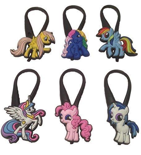 [Little Pony Silicone Snap Lock Zipper Pulls 6 Pcs Set #1] (Disney Tinker Bell Kids Sparkle Shoes)