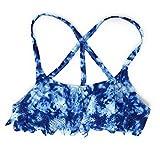Victoria's Secret PINK Strappy Back Flounce Bikini Top Medium Blue Cloud Cutout
