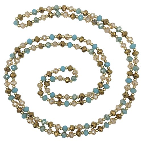 Long All Glass Beveled Beaded Simple Necklace (Brown & Aqua Blue) ()