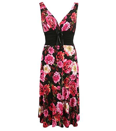 und Kleid Rosa Schwarz grecian Blumendruck Rosa Banana Blue HOqAvv