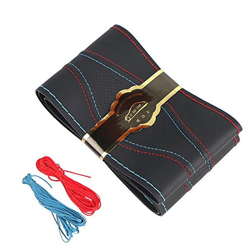 15 Inch Universal Car Steering Wheel Cover Leather (Artificial) Stitch On Wrap with Needle & Thread DIY Red and Blue Splice for BMW Etc