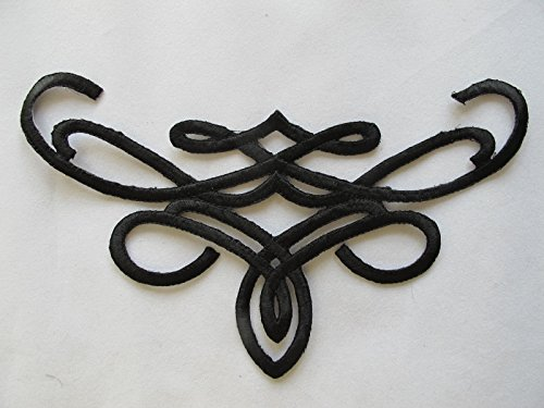 Black Trim Fringe Boho Art Deco Sew Embroidery Applique Patch by ade_patch