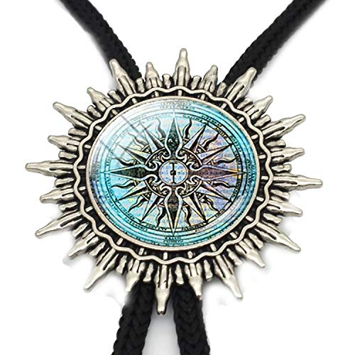 JIA-WALK Vintage Viking Compass Amulet Jewelry Necklace Compass Amulet Western Bolo Ties Pendant Jewelry Metal Neck Ties,T4 from JIA-WALK