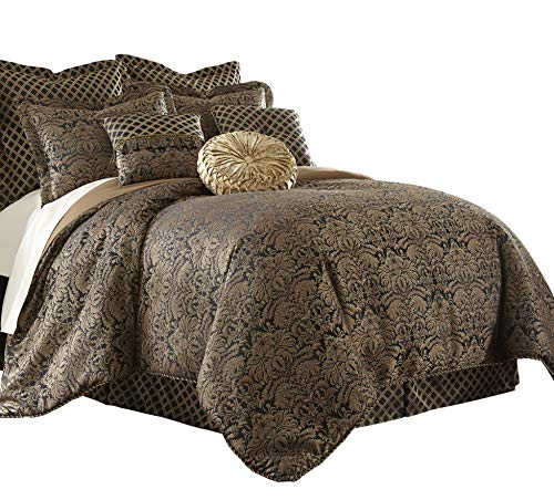 Sterling Creek Valencia 9-piece Black Gold Floral Jacquard Oversized Comforter Set (California King)