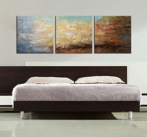 ARTLAND Modern 100% Hand Painted Framed Abstract Oil Painting ''Peaceful Lake'' 3-Piece Gallery-Wrapped Wall Art on Canvas Ready to Hang for Living Roomfor Wall Decor Home Decoration 24x72inches by ARTLAND