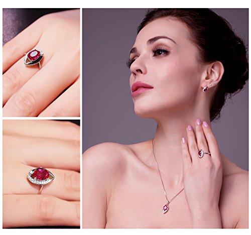 JewelryPalace 1.87ct Magnifique Bague Femme en Forme Oeil en Argent Sterling 925 en Rubis de Synthèse