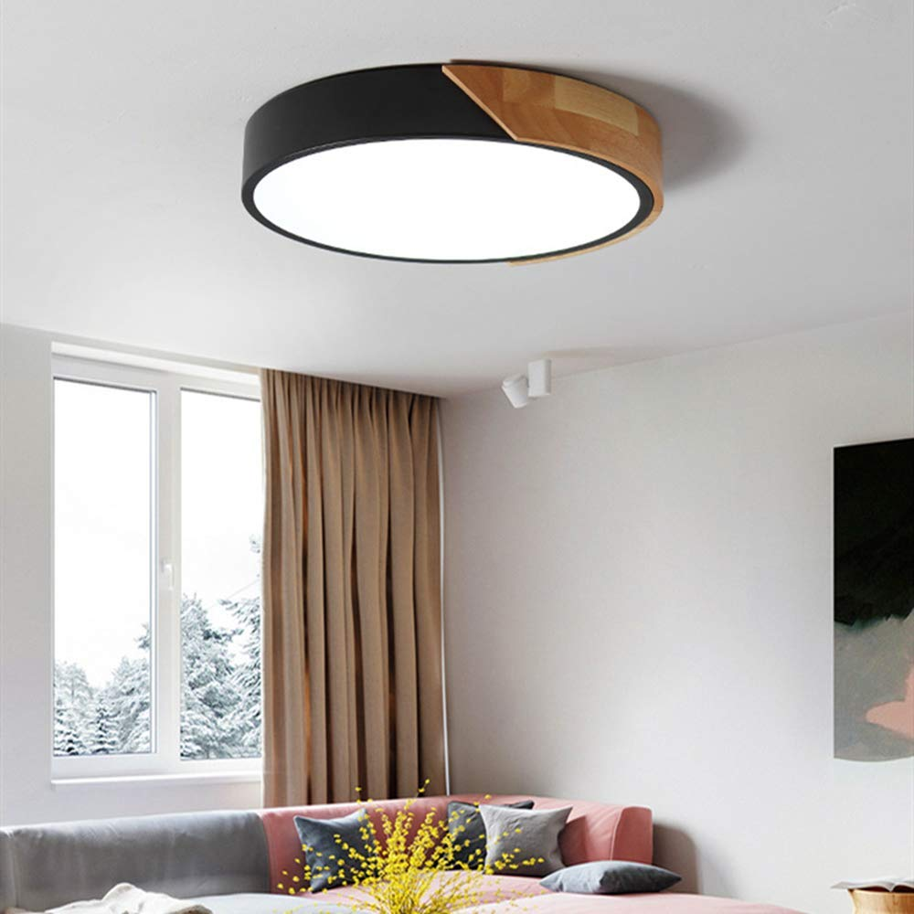 Bordure Grise, Gradation Progressive【30 * 5cm】-20W Plafonnier LED en Bois Dimmable Rond avec T/él/écommande pour Chambre de B/éb/é Salon Chambre denfant