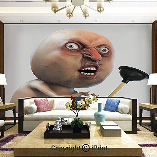 Lionpapa_mural Nature Wall Photo Decoration Removable & Reusable Wallpaper,Why You No with Plunger Guy Meme with Long Face Angry Grumpy Washroom Design,Home Decor - 66x96 inches ()