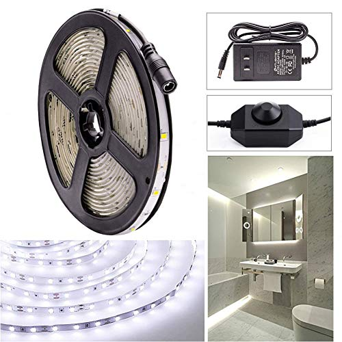 Dimmable Cool White LED Light Strip Kit, 16.4 Feet - Includes Power Supply and Dimmer. 300 LEDs, 6000K, 72 Lumens per Foot. 12V DC