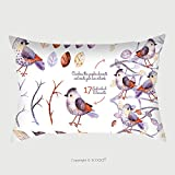 Custom Satin Pillowcase Protector Watercolor Collection With Birds, Leaves, Branche.Hand Painted With 17Watercolor Elements.Set Collection Of Floral Elements For Your Composition.Can Be Used Fo