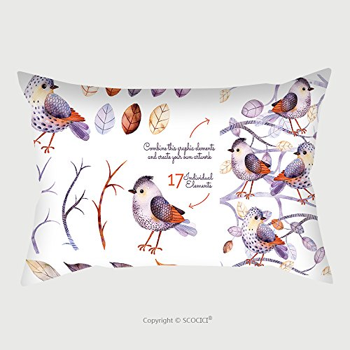 Custom Satin Pillowcase Protector Watercolor Collection With Birds, Leaves, Branche.Hand Painted With 17Watercolor Elements.Set Collection Of Floral Elements For Your Composition.Can Be Used Fo by chaoran