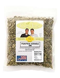 Raw Pumpkin Seed Kernels by Gerbs - 2 LBS - Top 11 Food Allergen Free & Non GMO - Vegan & Kosher Certified - Premium Grade AA Shelled Pepitas - Country of Origin Mexico