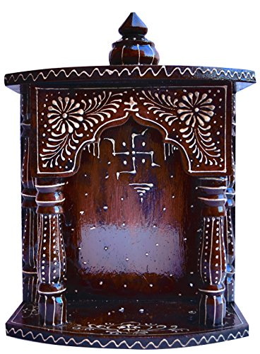 Hindu Religious Temple Made with Wood & MDF, Hand Painted with Emboss Cone Work with swasthik Symbol, A Auspicious and Religious Décor and Handicraft & Religious Art (Best Hindu Temples In Usa)