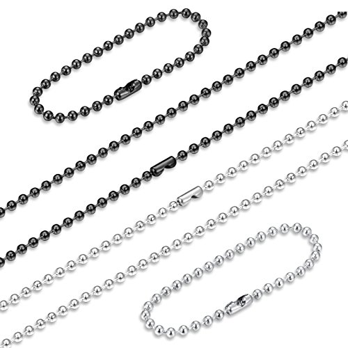 (ORAZIO 2PCS Stainless Steel Military Dog Tag Ball Chain Necklace for Men Women 2.4mm Bead Chain Set with Connector Silver Tone Black 24