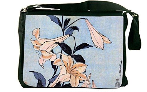 Rikki Knight Katsushika Hokusai Art Lilies Messenger Bag School Bag from Rikki Knight