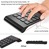 Numeric Keypad 2.4G wireless Keyboard Mini Portable 18 Keys Number Pad Financial Accounting Keypad with USB Receiver wireless 10 keys for Laptop Desktop PC Black